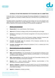 SCHEDULE OF MATTERS RESERVED FOR THE BOARD AND ITS ...