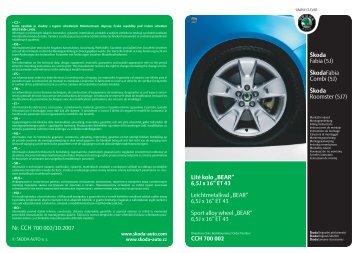 """6,5J x 16"""" ET 43 Leichtmetallrad """"BEAR - ŠKODA E-shop - Škoda Auto"""