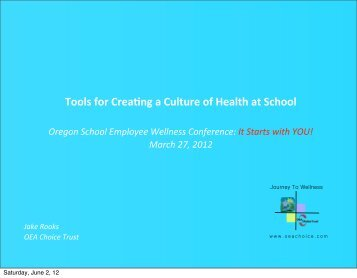 Session 11: Tools for Creating a Culture of Health at School