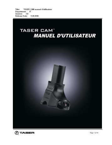 Manuel D'Utilisation - TASER International