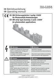 NH-Sicherungsleiste 2-polig 1500V für PV/NH-strip-type fuseway 2 ...