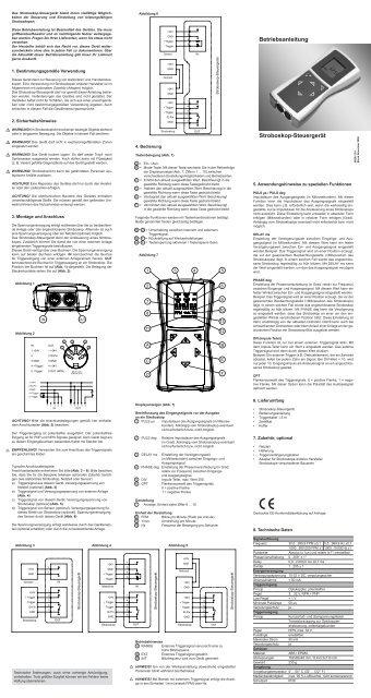 Betriebsanleitung Stroboskop-Steuergerät