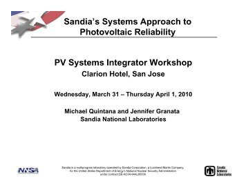 Sandia's Systems Approach to Photovoltaic Reliability PV Systems ...