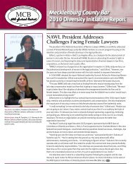 Mecklenburg County Bar 2010 Diversity Initiative Report ...
