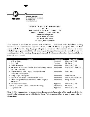 NOTICE OF MEETING AND AGENDA - Metro Transit