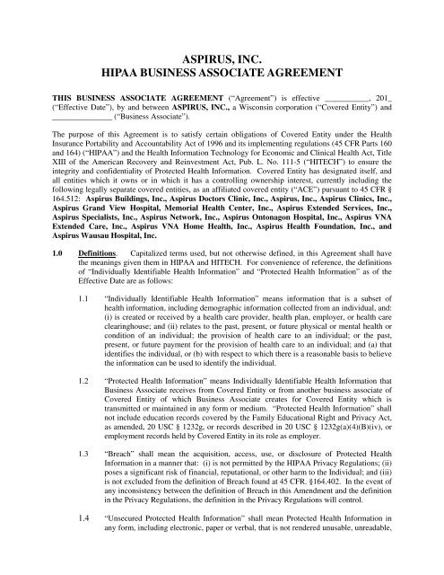 Aspirus Inc Hipaa Business Associate Agreement Memorial