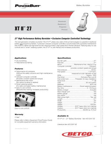 XT II 27 Battery Burnisher Manual 04-2007 - AbeJan Online Catalog