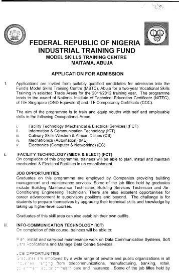 federal republic of nigeria industrial training fund - ITF Nigeria