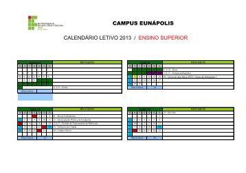 campus eunápolis calendário letivo 2013 / ensino superior