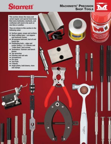 MACHINISTS' PRECISION SHOP TOOLS - JW Donchin CO.
