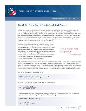 Portfolio Benefits of Bank-Qualified Bonds - Ambassador Financial ...