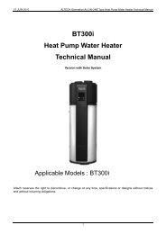 BT300i Heat Pump Water Heater Technical Manual