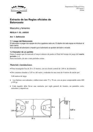 Extracto de las Reglas oficiales de Baloncesto Masculino y femenino