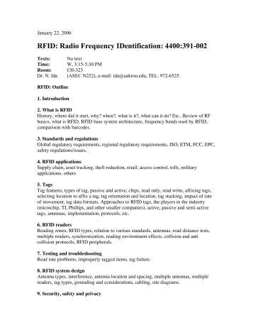 RFID: Radio Frequency IDentification: 4400:391-002