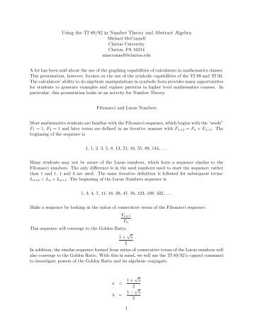 Using the TI 89/92 in Number Theory and Abstract Algebra