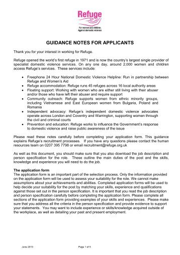 Guidance Notes for Applicants - Refuge