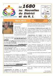 Le 1680 les Nouvelles du RI et du District N° 09 - mars 2012
