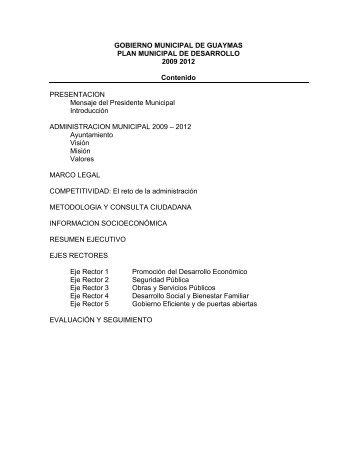Plan Municipal de Desarrollo 2009-2012 - H. Ayuntamiento de ...