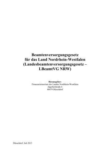 LBeamtVG NRW (nicht amtliche Fassung) - Finanzministerium NRW