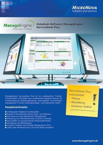 Hauptmerkmale: ServiceDesk Plus unterstützt ... - ManageEngine