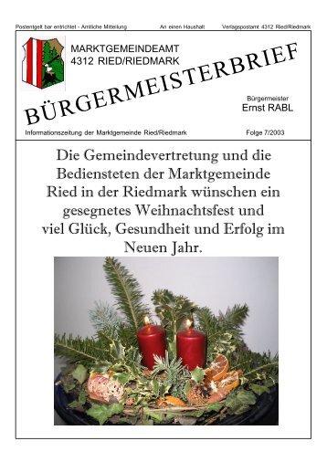 Bürgermeisterbrief 7/2003 (0 bytes) - Ried in der Riedmark