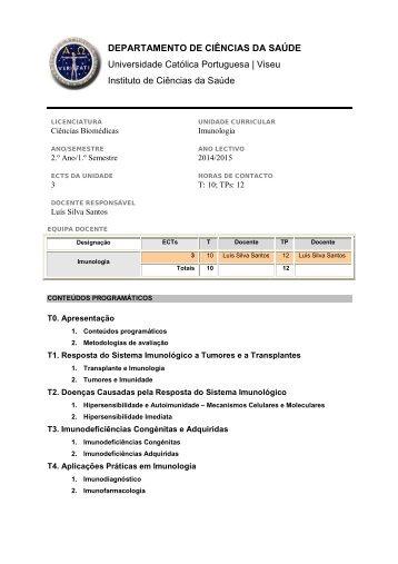 Unidade Curricular: Imunologia / Immunology Docente responsável ...