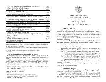 ANO LETIVO 2012/2013 Regras de inscrição e propinas ...