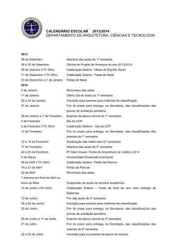 Calendário Escolar 2012/2013 - Universidade Católica Portuguesa