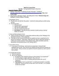 Week Four Lesson Plans Unit Two: The Argumentative Essay on ...