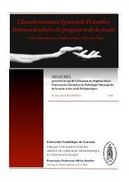 Mémoire DIU Main - Chirurgie de la Main - Bruxelles