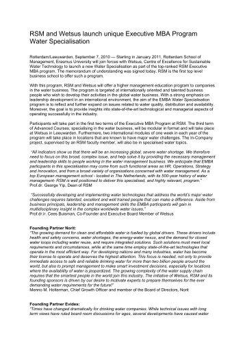 press release - Wetsus