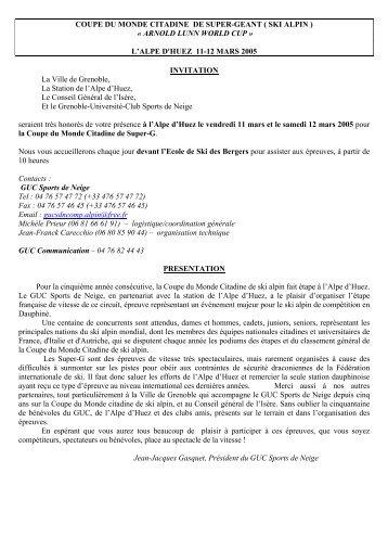 L'ALPE D'HUEZ 11-12 MARS 2005 INVITATION La - FIS-CIT Arnold ...