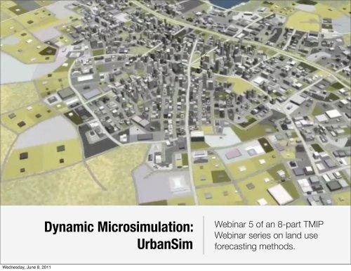 Dynamic Microsimulation: UrbanSim - WebHome