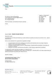 Para: Telefono: +39 0434 397… De: Servicio Venta de ... - Savio SPA