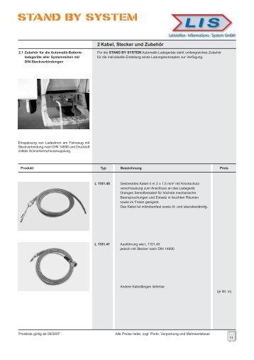 2 Kabel, Stecker und Zubehör - stand by system
