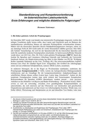 Standardisierung und Kompetenzorientierung im ... - Latein Forum