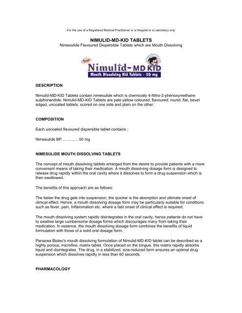 Nimulid MD Kid Tab - Panacea Biotec