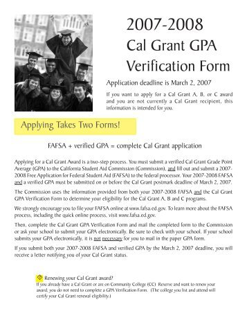 September 2, Cal Grant GPA Verification Form - CSAC California ...