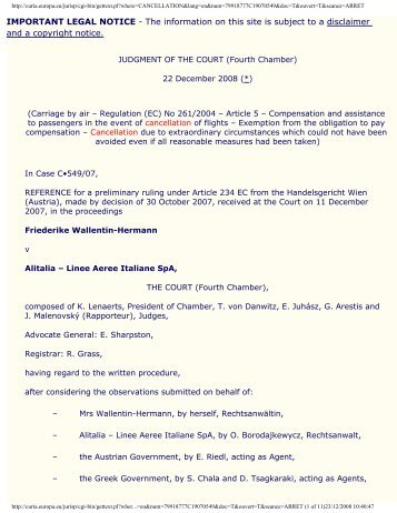 IMPORTANT LEGAL NOTICE   Air Transport Users Council