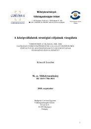 A középvállalatok stratégiai céljainak vizsgálata - Budapesti ...
