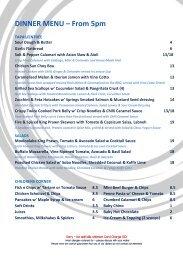 DINNER MENU – From 5pm - Sandbar Cafe & Kiosk