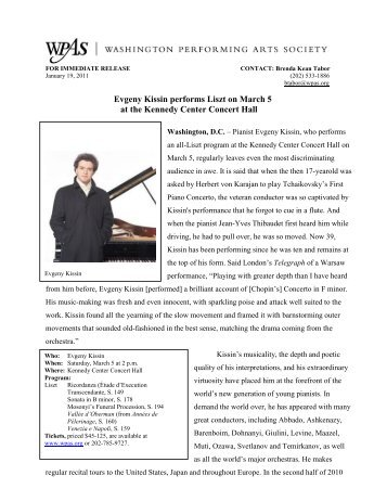 FOR IMMEDIATE RELEASE - Washington Performing Arts Society