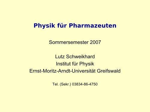 Einführung - Prof. Dr. Lutz Schweikhard - Ernst-Moritz-Arndt ...