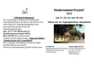 Kindersommerfreizeit - Ev.-Luth. Bugenhagengemeinde Nettelnburg