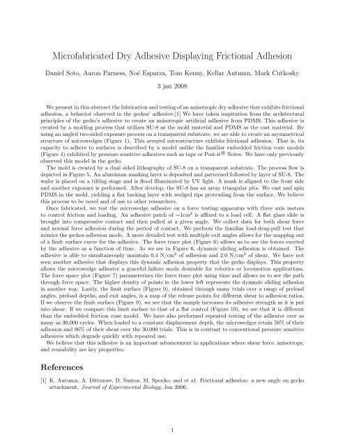Microfabricated Dry Adhesive Displaying Frictional Adhesion