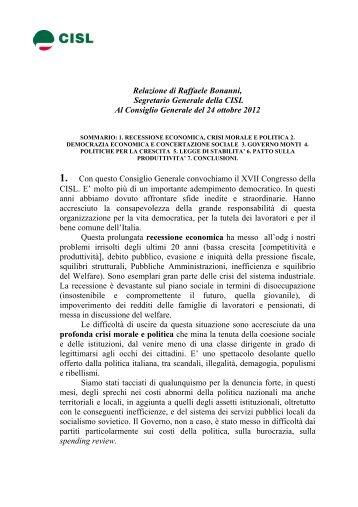 Relazione di Raffaele Bonanni, Segretario Generale della CISL Al ...