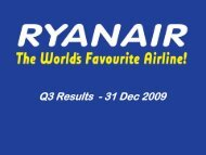 Ryanair Quarter 3 Results 2010