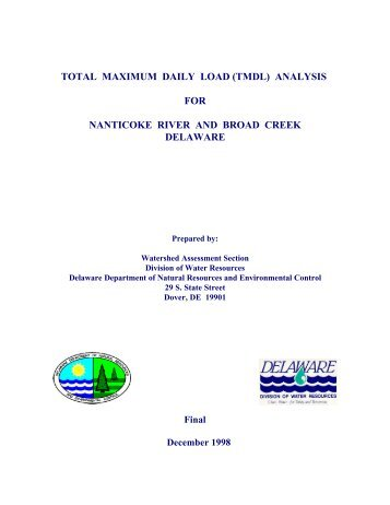 (tmdl) analysis for nanticoke river and broad creek delaware