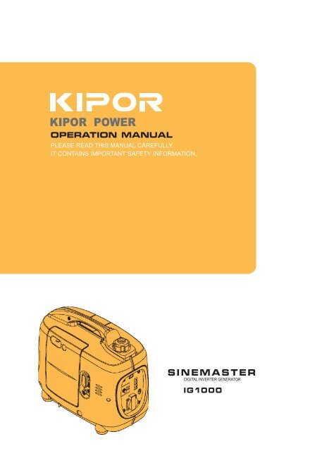 kipor ig 1000 manual
