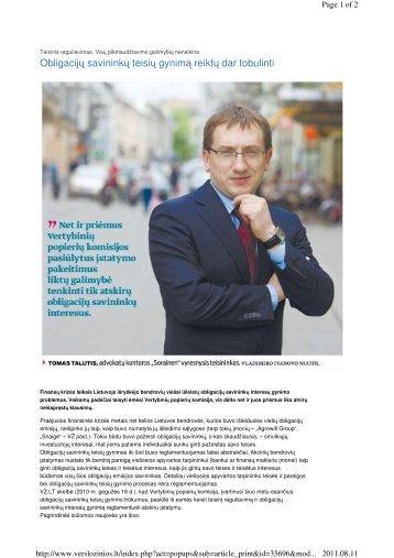 Obligacijų savininkų teisių gynimą reiktų dar tobulinti - Sorainen